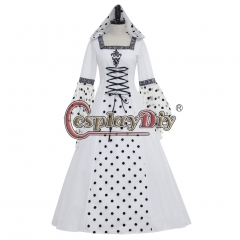 White and Black Medieval Victorian Renaissance Gothic Wedding Dress Hooded Costume
