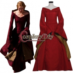 Game of Thrones Cosplay Cersei Lannister Red Medieval Renaissance Costume Dress Women's Halloween Party Cosplay Costume