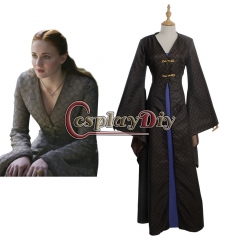 Cosplaydiy Game of Thrones Sansa Stark Dress Cosplay Costume Two-Piece of Dress Adult Women's Halloween outsuit