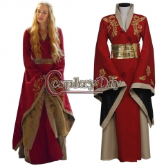 Game Of Thrones Queen Cersei Lannister Red dress Costume Wedding Dress Women's Halloween Outsuit Cosplay Costume