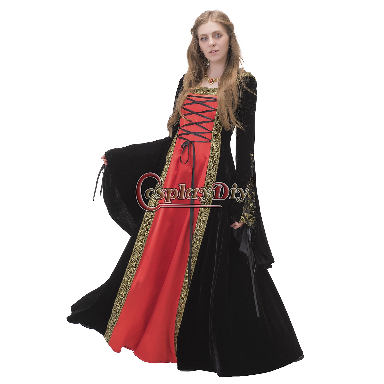 Cosplaydiy Medieval Renaissance Dresses Fancy Cosplay Adult Ankle ...