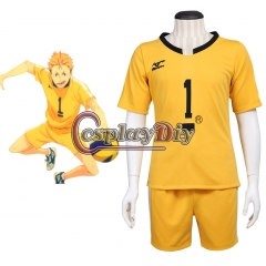 Cosplaydiy Haikyuu Johzenji High Captain Yuuji Terushima Cosplay Costume Yellow Outsuit