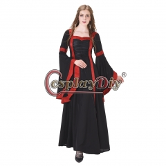 Women Medieval Long Sleeve Dresses Gowns Vintage Royal Gothic Victorian Dress