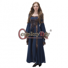 Women Medieval Long Sleeve Dresses Gowns Vintage Royal Gothic Victorian Blue Dress