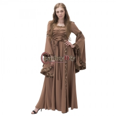Women Medieval Oil Long Maxi Dresses Gowns Boho Peasant Wench Victorian Dress