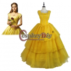 (kids children size) Beauty and the Beast Pricess Belle Emma Watson Yellow Dress Cosplay Costume