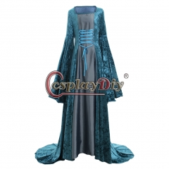 Cosplaydiy Medieval Dress Renaissance Costume Ankle-length Ball Gown Dress Blue Dress