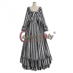 Newest Katrina Sleepy Hollow Colonial Polonaise Striped Gothic Victorian Dress Striped Bustle Dress