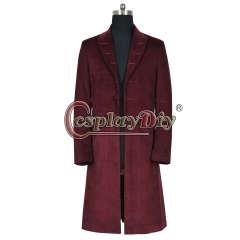 Cosplaydiy Doctor Who 4th Fourth Dr Cosplay Costume Trench Coat Dark Red