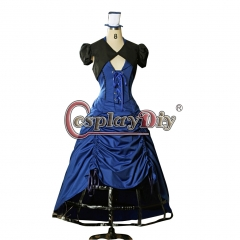 Doctor Who Inspired Gothic Steampunk Lady Costume Outfit Blue Dress Custom Made