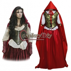 Once Upon a Time Ruby's Little Red Riding Hood Costume Cloak Dress Cosplay Costume