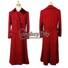 Dark Red Long Trench Wool Coat costume for Doctor Who Cosplay
