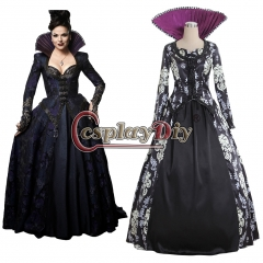 Cosplaydiy Once Upon A Time 3 Regina Mills Dress Cosplay Costume Long Dress