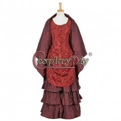 Doctor Who The Snowmen Clara Oswald Dress Cosplay Costume Dark Red Dress Cake Dress