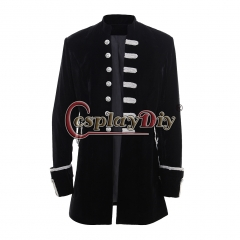 Men's Punk Steampunk Military Coat Jacket uniform-black velvet
