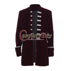 Men's Punk Steampunk Military Coat Jacket uniform-red velvet