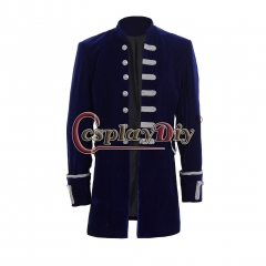 Men's Punk Steampunk Military Coat Jacket uniform-blue velvet
