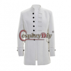Men's Punk Steampunk Military Coat Jacket uniform-white