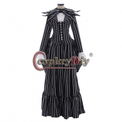black and white striped medieval dress