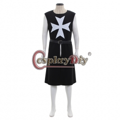 MEDIEVAL KNIGHT BLACK Tunic Crusader Sleeveless Renaissance LARP