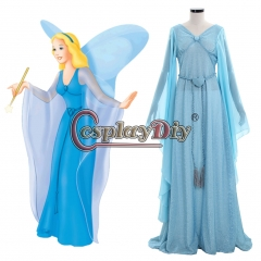 Cosplaydiy The Adventures of Pinocchio Blue Fairy Princess Dress Costume Halloween Carnival Costume Cosplay Adult Women