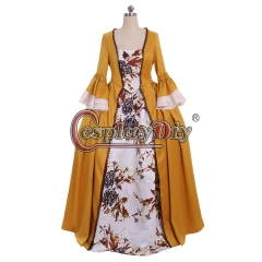 Cosplaydiy Outlander Claire Fraser Dress Yellow Rococo Ball Gown Dress Marie Antoinette Princess Queen Party Dress