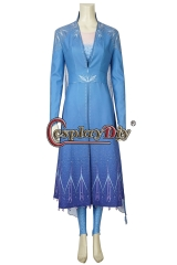 Frozen 2 Queen Elsa Cosplay Princess Costume Blue Snow Outfit Dress Party Gown