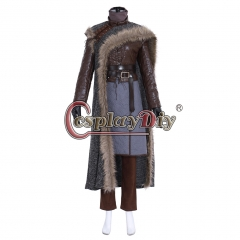 Cosplaydiy Game of Thrones Season 8 Costume Arya Stark Cosplay Fancy Dress Cloak Leather Jacket Girls Halloween Outfit Full Set Custom Made