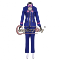 Cosplaydiy Anime JOJO JoJo's Bizarre Adventure Golden Wind Giorno Giovanna Cosplay Costume Blue Suit Halloween Custom Made