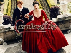 Cosplaydiy Outlander Claire Red Dress Outlander Season 2 Claire Paris Parisian Red Gown Dress Wedding Dress