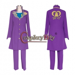 Cosplaydiy Anime JOJO JoJo's Bizarre Adventure Higashikata Josuke Cosplay Costume halloween costume custom made purple coat