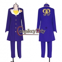 Cosplaydiy Anime JOJO JoJo's Bizarre Adventure Higashikata Josuke Cosplay Costume halloween costume custom made blue coat