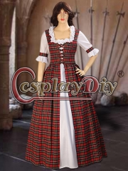 Cosplaydiy Scottish Highland Tartan Two Piece Traditional Dress Handmade in Tartan Plaid for women adult red dress