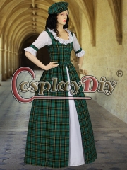 Cosplaydiy Scottish Highland Tartan Two Piece Traditional Dress Handmade in Tartan Plaid for women adult green dress