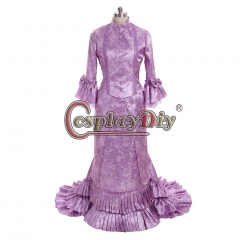 Cosplaydiy Purple French Duchess Civil War Bustle Dress Tartan Victorian Colonial Dresses Steampunk Gothic Bustle Gown