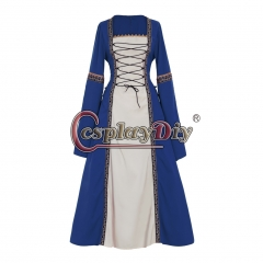 Cosplaydiy Adult's Blue Fancy Dress Gothic Medieval Victorian Dress Ball Gown Dress Costume Cosplay for Carnival Party