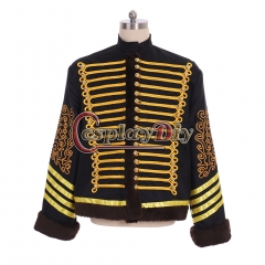 Cosplaydiy My Chemical Romance Parade Jacket Napoleonic Hussars Coat Military Faux Fur Jacket Michael Jackson Coat
