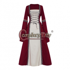 Cosplaydiy Adult's Red Fancy Dress Gothic Medieval Victorian Dress Ball Gown Dress Costume Cosplay for Carnival Party
