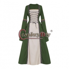 Cosplaydiy Adult's Green Fancy Dress Gothic Medieval Victorian Dress Ball Gown Dress Costume Cosplay for Carnival Party