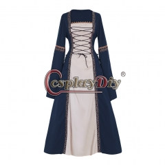 Cosplaydiy Adult's Dark Blue Fancy Dress Gothic Medieval Victorian Dress Ball Gown Dress Costume Cosplay for Carnival Party