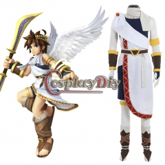 Cosplaydiy Kid Icarus: Uprising Pit Cosplay Costume white outfit custom made
