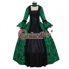 Cosplaydiy Renaissance Medieval Carnivale Gown Gothic Victorian Masquerade Long Dress Rococo Green dress