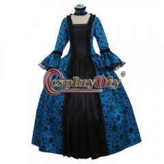 Cosplaydiy Renaissance Medieval Carnivale Gown Gothic Victorian Masquerade Long Dress Rococo Blue dress