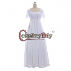 Cosplaydiy simple white Regency style dress lady Regency Ball Dress High Waistline Tea Gown Dress medieval dress custom made