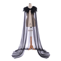 Cosplaydiy Evil Queen cosplay maleficent cloak Cape Gothic steampunk Feather collar Cloak Costume halloween witch cosplay costume cloak