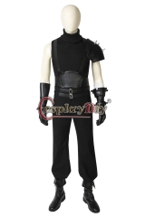 Cosplaydiy Final Fantasy VII Remake Cloud Strife Cosplay Costume Men Black Outfit with Shoes