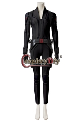 (Without Shoes) Movie Black Widow Cosplay Natasha Romanoff Costume Leather Jumpsuit Black Suit Women Halloween Carnival Outfit Custom Made