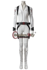 (With Shoes) Movie Black Widow Cosplay Black Widow Natasha Romanoff Costume White Jumpsuit Halloween Women Outfit Custom Made