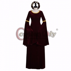 Cosplaydiy Vintage Dark Red Turing Renaissance Medieval Dress Costume Cosplay for Halloween Carnival Cosplay Party