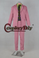 Cosplaydiy JoJo's Bizarre Adventure Yoshikage Cosplay Costume Adult Men Full Outfits Halloween Outfits Custom Made